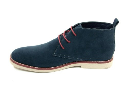 Mens Navy Ankle High Chukka Desert Style Lace Up Casual Boots