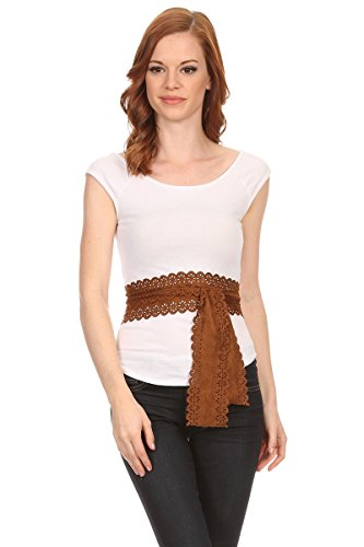 (LL Womens Long Skinny Thin Scarf Chic Tie Sash Fringe Light Weight Many Styles (Tan Faux Suede))