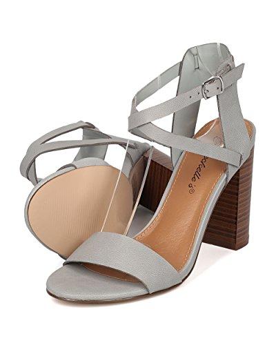 Breckelles Women Block Heel Sandal - Cross Ankle Strap Heel - Chunky Heel Sandal - HK71 Grey Leatherette 58FhUh