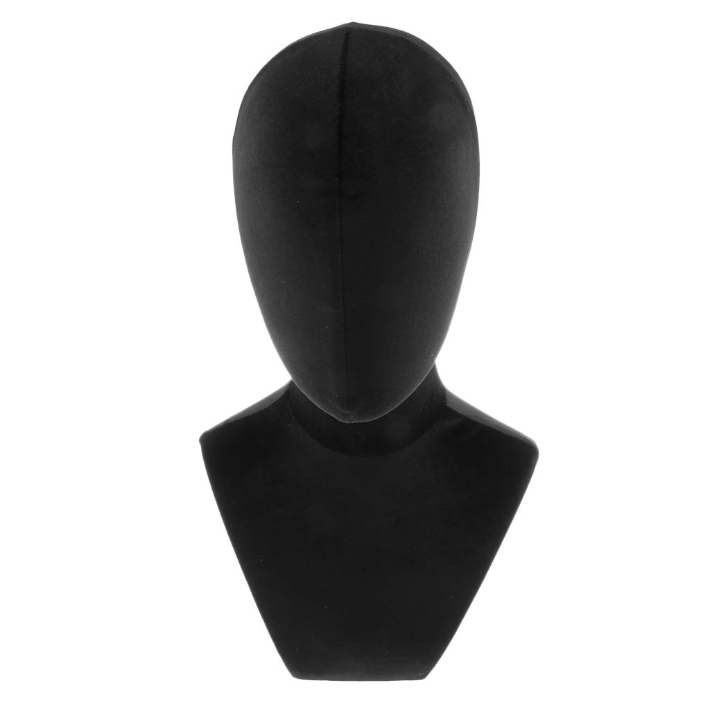 Flameer 21 inch Wooden with Black Velvet Cover Mannequin Head Bust for Wig Making Jewelry Scarf Display Style Model