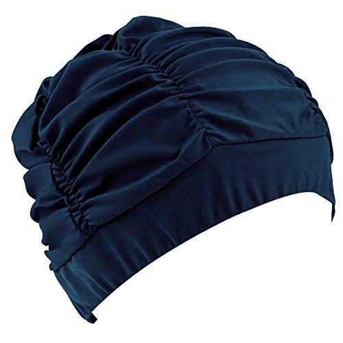 LEFV™ Swimming Cap Long Hair Swim Hat Solid Color Lycra Bathing Caps for Adult Women Men Teens,Dark Blue