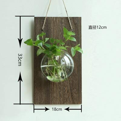 Wood Shelf Plaques & Signs - Hanging Glass Vase Hanging Pot Container Wall Adornment Wall Act The Role Ofing Literary Hydroponic Plants 1 Pcs - Black Wood Vase - Dark Wood Vase