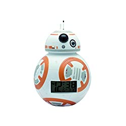 BulbBotz Star Wars BB-8 Kids Light up Alarm Clock | White/Orange | Plastic | 3.5 inches Tall | LCD Display | boy Girl | Official