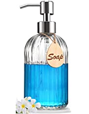 Soap Dispenser - Premium Quality - Large 530ml Hand & Dish Soap Dispenser - Rust Proof Stainless Steel Pump - Clear Glass - Ideal for Kitchen Dish Soap, Hand Soap, Essential Oil & Lotion - Sturdy