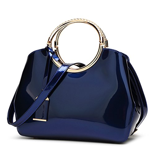 Hoxis Charm Glossy Metal Grip Structured Shoulder Handbag Womensh Satchel (Navy) (Blue Patent Leather Bag)