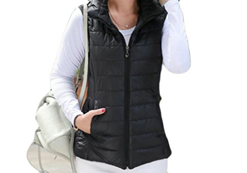 Women Stand Vest Black Fashion Down Collar Solid Pockets Quilted GRMO Sleeveless gqIwC6qd