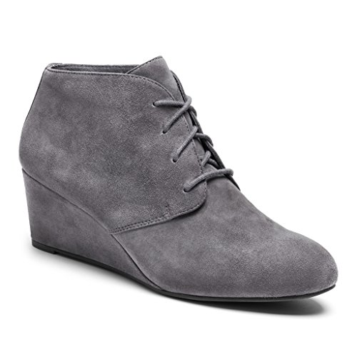 VIONIC Women's Elevated Becca Wedge Lace-Up Grey Wedge by Vionic