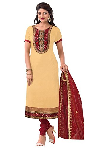 Vibes Women's Cotton Salwar Suit Dress Material – Free Size, Beige and Red