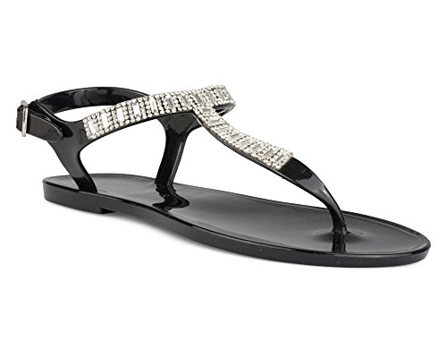 Twisted Girl's Rhinestone and Beaded Ankle Strap Sandal - Black (JUSTINA04K Black), Size - Black Strap 3 Sandal