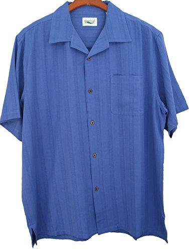 Good-Life-Mens-Silk-Camp-Shirt-Solid-Vertical-Textured-Casual-Short-Sleeved