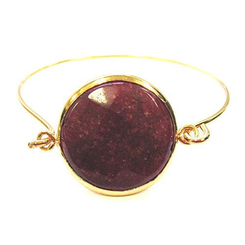 Dark red jade embeded pendant bangle bracelet 18k yellow gold plated