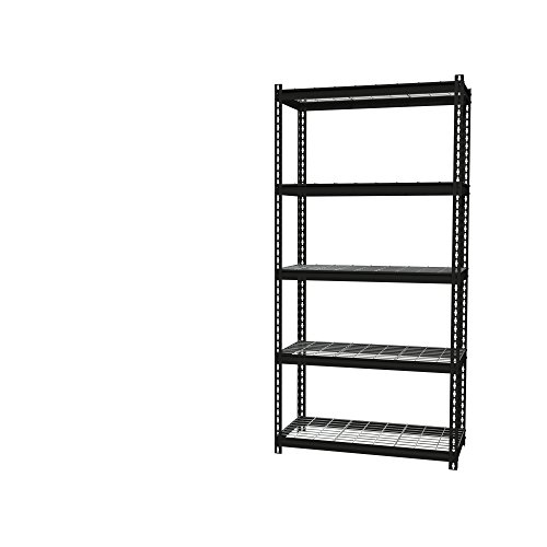 Office Dimensions Riveted Steel Shelving with Wire Shelves 5 Shelf, 18'' D x 36'' W x 72'' H, Black by Iron Horse