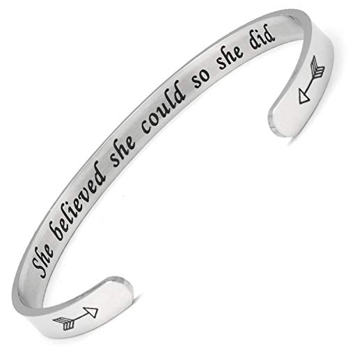 BGAFLOVE She Believed She Could So She Did Inspirational Bracelet Cuff Bangle Mantra Classs of 2019 Graduation Gifts for Women Christmas Jewelry for Her