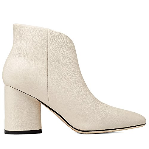 Colorful Leather Ankle Heel Toe High Graceful Seven Pointed Women's White Boots Genuine Nine Handmade FPBqAwz