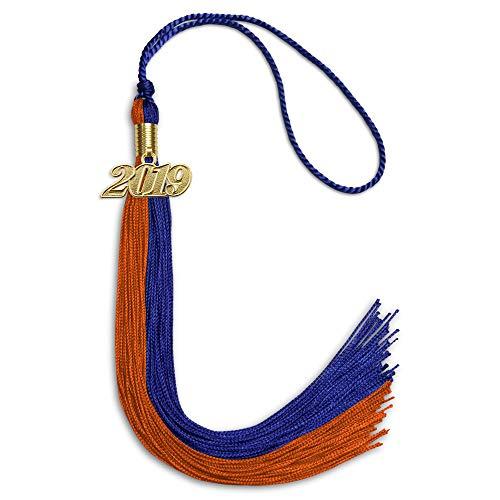 - Double Color Graduation Tassel With Date Drop (Royal Blue/Orange)