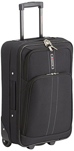 "5 Cities Lightweight Cabin Approved Hard Wearing and Light Weight Trolley Wheeled Luggage Bag (18 inch fits 50 x 40 x 20 & 21 inch 55 x 40 x20) (21"", Black 602)"