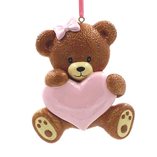 SMYER Baby's 1st Christmas Ornaments 2019,Family Personalize Christmas Ornament, Free Pen Included with Gift Box, Made of Resin (Bear Pink)