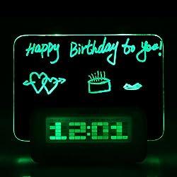 Trudged(TM) Desktop Director Table Clocks Digital Fluorescent Message Board Clock Alarm Temperature Calendar Timer USB Hub Green Blue LED