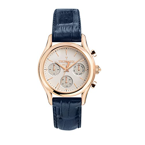 TRUSSARDI Men's T-Light Stainless Steel Analog-Quartz Leather Strap, Blue, 16 Casual Watch (Model: R2451127001) ()