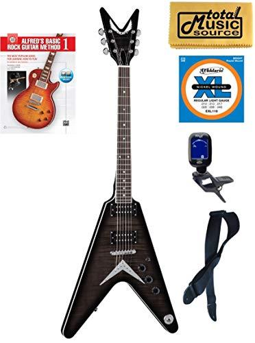 V 79 TBK Flame Top Solid-Body Electric Guitar, Trans Black, Book Bundle