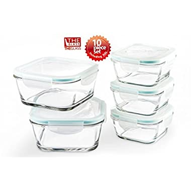 The Glass Clear and Clean Taste Eco Friendly Airtight Glass Food Storage Container - Square (5 Containers)