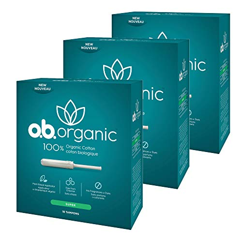 o.b. Organic Tampons with New Plant-Based Applicator*, 100% Organic Cotton Core, Super, 18 Count (Pack of 3) ()