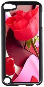 Single Rose & Paper Hearts Black Plastic Decorative iPod iTouch 5th Generation Case