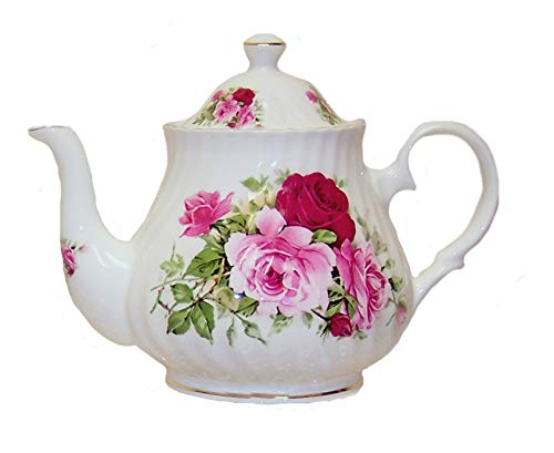 Pink Rose Fine Porcelain - SUMMERTIME ROSE 6 cup Teapot - English Fine Bone China
