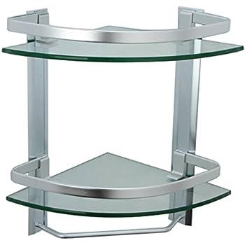 KES Bathroom Shelf, Glass Corner Shelf 2 Tier With Aluminum Rail   Shower  Organizer Basket