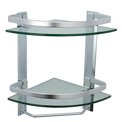 Bathroom Corner Shelf 2 Tier Shelves Glass Shower Wall Mounted Storage Shelving