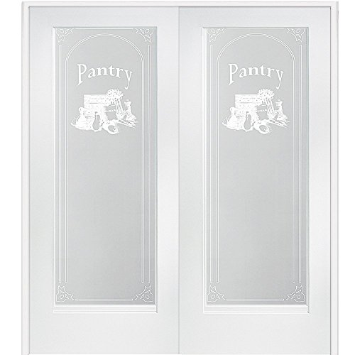 "National Door Company Z009326BA Primed MDF 1 Lite Frosted Glass with Pantry Design, Prehung Interior Double Door, 60"" x 80"""