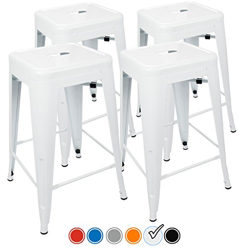 "24"" Counter Height Bar Stools,! (WHITE) by UrbanMod, [Set Of 4] Stackable, Indoor/Outdoor, Kitchen Bar Stools,! 330LB Limit, Metal Bar Stools! Industrial, Galvanized Steel, Counter Stools! (Bar Indoor Set Furniture)"