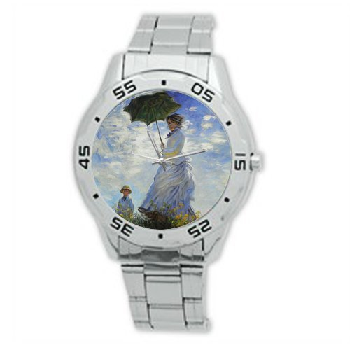 Classic Christmas Day Guft Beautiful Woman Art by Claude Monet Analogue Stainless Steel Men's Watch ()