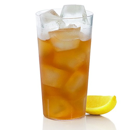 Café Break-Resistant Commercial-Grade Plastic 20oz Restaurant-Quality Beverage Tumblers - Set of 16 Clear (Milk Glass Basket)