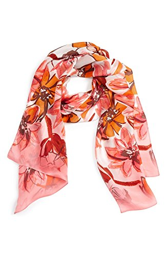 (Vince Camuto Women`s Brushed Blooms Silk Scarf (One Size, Desert Flower))