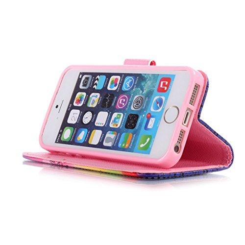 iPhone 5/5S Coque , Apple iPhone 5/5S Coque Lifetrut® [ Papillon de pissenlit Fée ] [Wallet Fonction] [stand Feature] Magnetic snap Wallet Wallet Prime Flip Coque Etui pour Apple iPhone 5/5S
