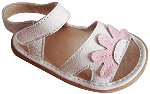 (Jiazibb Baby Girls Velcro Leather Flowers Squeaky Toddler First Walkers Shoes Sandals (# 2 / Insole Length:120mm, White) )