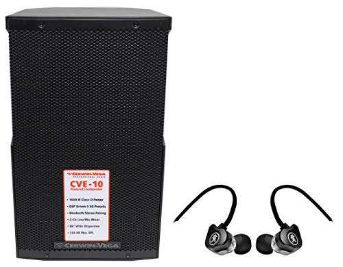 "Cerwin Vega CVE-10 1000 Watt 10"" Powered Bluetooth DJ PA Speaker+Mackie Earbuds"