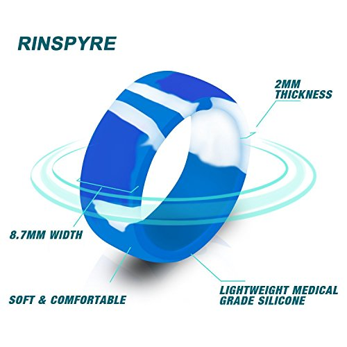 Rinspyre 10 Pack Silicone Wedding Ring for Men Rubber Bands, Black White Blue Silver Gray Size 11 by Rinspyre (Image #5)