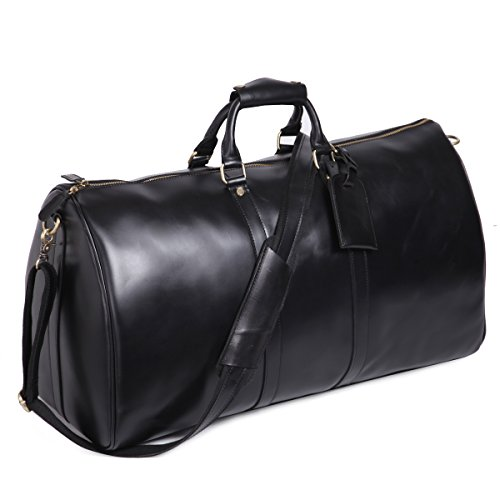 Leathario Mens Genuine Leather Overnight Travel Duffle Overnight Weekender Bag Luggage Carry On Airplane by Leathario