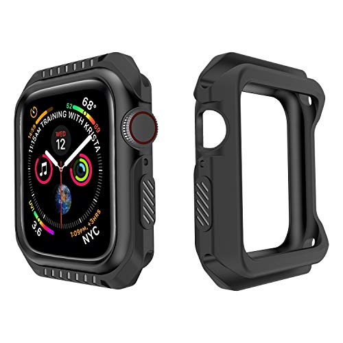 MAPUCE Compatible Apple Watch Case 44mm Series 4, Shock-Proof Smartwatch Cases Shatter-Resistant Protector Bumper Cover Replacement Compatible iWatch Series 4 (Black, 44mm)