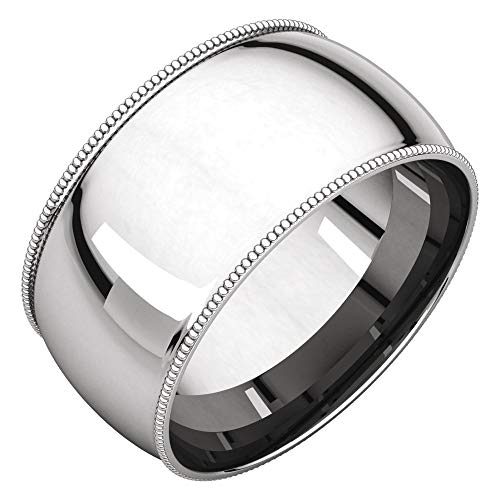 (Bonyak Jewelry Sterling Silver 10 mm Milgrain Comfort-Fit Band - Size 7)