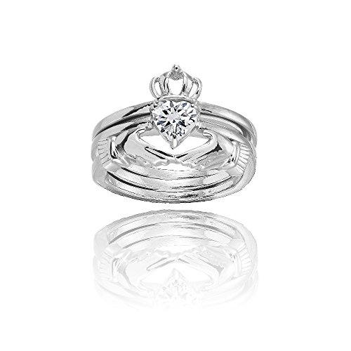Sterling Silver Cubic Zirconia Heart Claddagh Stackable Ring Set, Size 7