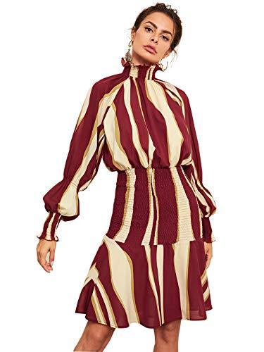 Floerns Women's Ruffle Hem Mock Neck Long Sleeve Stripe Smocked Dress Red XS
