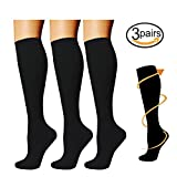 3 Pairs Knee High Graduated Compression Socks For Women and Men - Best Medical, Nursing, Travel & Flight Socks - Running & Fitness - 15-20mmHg (L/XL, Black)