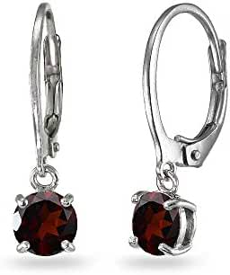 LOVVE Sterling Silver 6mm Round Dangle Dainty Leverback Earrings, Choice of 12 Genuine, Simulated or Created Birthstone Month Colors