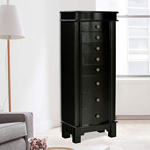Black Jewelry Chest - Elpitha Jewelry Cabinet with Mirror Jewelry Armoire Cambered Front Storage Chest Stand Wooden Organizer 8 Drawers,Black