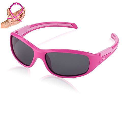 TAC Polarized Sunglasses Sports Glasses for Kids and Teens Boys and Girls 3-12 Rose red and Pink with Grey - Youth Sunglasses Polarized Baseball