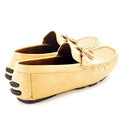 Herren Slipper mit Quasten Slipper Mokassins Schuhe Verzierung Beige rq8Hztrwnx