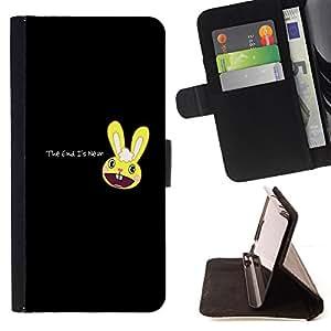 KingStore / Leather Etui en cuir / Apple Iphone 5C / Cute Apocalyptic Bunny - The End Is Near